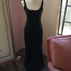 Black long evening gown strapped back